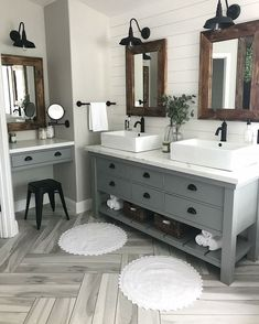 Modern Farmhouse Master Bath Renovation - Obsessed with our vanity spaces! Modern Farmhouse Master Bath Renovation – Obsessed with our vanity spaces! Modern Farmhouse Master Bath Renovation – Obsessed with our vanity spaces! Bathroom Renos, Bathroom Renovations, Home Remodeling, Master Bathrooms, Bathroom Makeovers, Bathroom Fixtures, Shiplap Master Bathroom, Master Bath Vanity, Bathroom Double Vanity