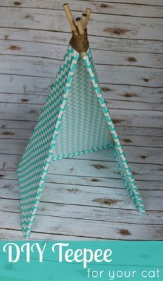 Learn how to make a teepee for your cat or small dog. You can even try this easy DIY Teepee craft on a larger scale for your kids to play in!