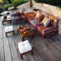 Garden seating area. Lounge furniture in maroccan style