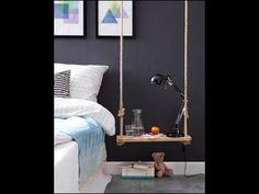 Swinging Nightstand – Inspiring idea for a individual #DIY nightstand for your bedroom. #Bosch Construction manual: http://www.1-2-do.com/de/projekt/nachttisch/bauanleitung-zum-selber-bauen/4000480/