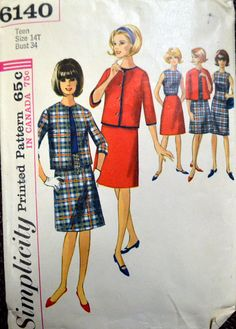 Vintage 1965  Sewing Pattern Simplicity 6140 Teen's Jacket, Skirt, and Blouse  Bust 34 inches Complete by GoofingOffSewing on Etsy