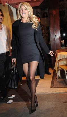 Christie Brinkley shows off her perfect pins in stunning LBD at Sports Illustrated party Pantyhose Outfits, Nylons, Sports Illustrated, Goth Women, Sexy Women, Cute Skirts, Mini Skirts, Christie Brinkley, Sexy Legs And Heels