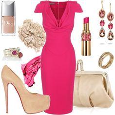 Fushia Cowl Neck Dress
