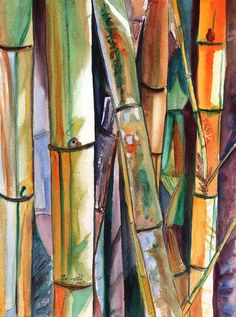 Bamboo Garden Original Watercolor Painting from Kauai Hawaii by Marionette