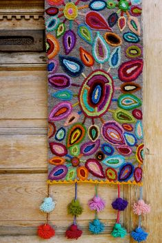 """Light up a room with this stunning """"Fireworks"""" table runner… - Handwork Jobs Mexican Embroidery, Crewel Embroidery, Cross Stitch Embroidery, Embroidery Patterns, Punch Needle, Rug Hooking, Fabric Art, Textile Art, Needlepoint"""