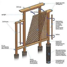 A garden trellis you can build in a weekend to add garden interest and a sturdy host for flowering climbers.    Illustration: Gregory Nemec   thisoldhouse.com