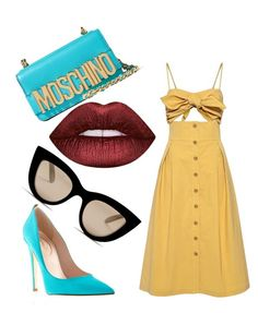 """""""Escuse me? Yellow deos go wish blue"""" by vane-siano on Polyvore featuring mode, Sea, New York, Moschino, Lime Crime et gx by Gwen Stefani"""