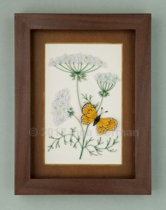 Wall art: Wild carrot flowers and butterfly. Framed with