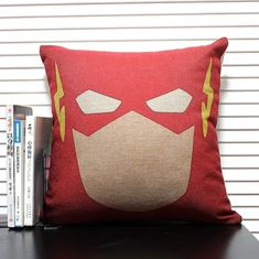 cotton linen Fabrics THE FLASH shade pillow sham animation and creative Pillow Cover Hollywood cartoon pillow pattern red pillowcase on Etsy, $16.00