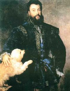 Tiziano Vecelli or Tiziano Vecellio, known in English as Titian (died 1576) ~ Federico II Gonzaga, First Duke of Mantua~  (ca. 1523) ~ Museo del Prado, Madrid.  He was the son of Isabella d'Este and Francesco II Gonzaga, Marquess of Mantua. Titian, was an Italian painter, the most important member of the 16th-century Venetian school.