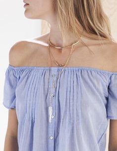 Off-the-shoulder shirt - CLOTHING - Stradivarius Turkey