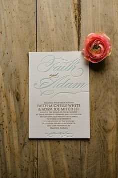 Mint and Gold Glitter Letterpress Wedding Invitations from Just Invite Me