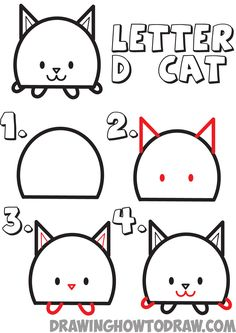 Huge guide to drawing cartoon animals from capital letter D - drawing tutorial for kids - how to draw step by step drawing tutorials - How to draw cartoon kitty cats from letter D shape for kids You are in the right place about cartoon - Cartoon Drawings Of Animals, Drawing Cartoon Characters, Cartoon Girl Drawing, Cat Drawing, Cartoon Kids, Drawing Sketches, Drawing Cartoons, How To Draw Cartoons, Drawing Animals
