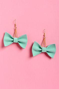 Claire Fong Earrings - Mint Earrings - Bow Earrings - $31.00
