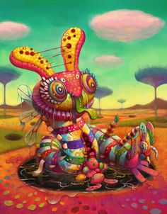 Cool Lowbrow Rabbit Art - Colorful