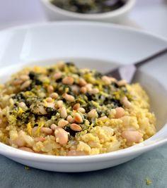 White Bean & Pesto Millet Risotto  #coconutandberries