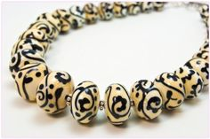Damask Necklace - graduated lampwork beads - by Amber Higgins (Worn Beadies)