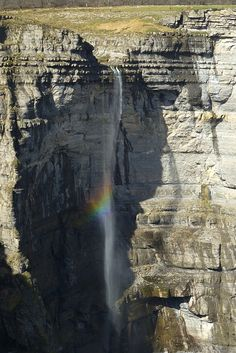 """Waterfall with """"rainbow"""". Santiago Mountain. Birth place of Nervion river. Orduña. Bizkaia. Basque Country"""