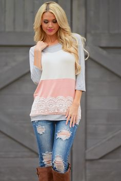 Lacey Little Thing Color Block Top from Closet Candy Boutique