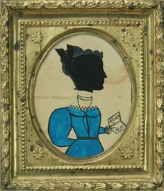 """American 19th century silhouette by """"The Puffy Sleeve Artist"""". Hollow cut head, painted body."""