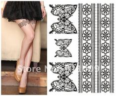 TA108 Leg Body Lace Tattoo Stickers /Safe Temporary Tattoo Sticker can mix