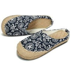 Dargon Flower Print Flax Open Heel Color Match National Wind Slip On Flat Shoes