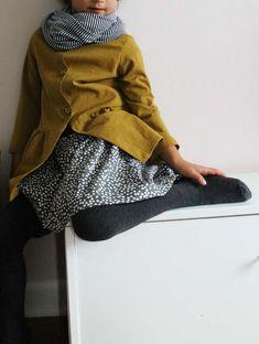 mustard jacket + polka dot gathered skirt