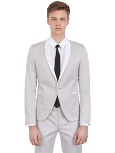 THE SUITS - STRETCH COTTON TWILL TUXEDO SUIT - LUISAVIAROMA - LUXURY SHOPPING WORLDWIDE SHIPPING - FLORENCE