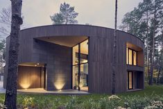 Home Interior Design, Interior Architecture, Interior And Exterior, Modern Wooden House, Circle House, Cladding Materials, Forest View, Unique Buildings, Forest House
