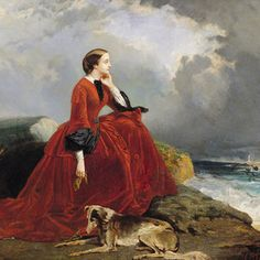 """Empress Eugenie wears a simple yet luxurious crimson velvet ensemble as she gazes out over the coast of France. """"Empress Eugenie at… Painting Studio, Oil Painting On Canvas, Villa Eugenie, Adele, Dali Paintings, Red Velvet Dress, Biarritz, Second Empire, Fine Art"""