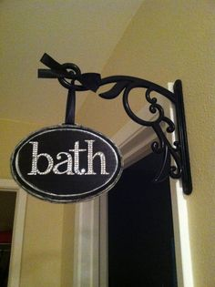 Bath Decor Sign- cute for outside of rooms Bath Decor, Room Decor, Ikea Furniture Hacks, Bath Sign, Room Signs, Bathroom Interior, Cozy House, Decoration, Girl Room