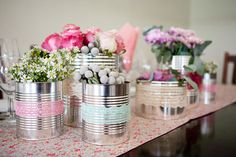 tin can and lace vases - @Julie Cook and @Amber Cohen -  I need you to save me some cans :)