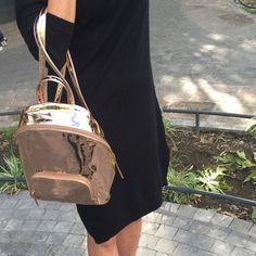 Pink Backpack Vegan Leather Bag Metallic Bag Rose by MinaShoes