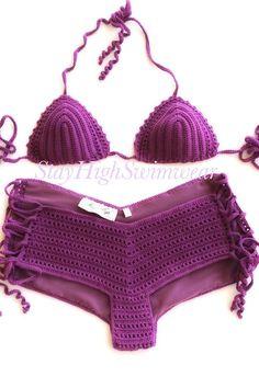 Purple Crochet Bikini Triangle Bikini Top Women Swimwear Triangle Crochet Swimsuit Full Lining Two Piece Swimwear