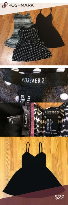 Forever 21 Dress Bundle Three F21 dress bundle!! The all black dress is a small, polka dot is a medium, and aztec print is a large. All in very good condition. Will ship same day as purchased! From a smoke free home. No trades please. Forever 21 Dresses