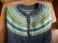 Ravelry: Fair Isle Yoke Cardigan pattern by Elizabeth Zimmermann--This was the first pattern in her first newsletter, and is in Knitting Without Tears, Knitting Around, and The Opinionated Knitter.  Still fabulous!  True classics never go out of style.