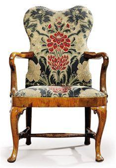Chairs 2019 Fashion Antique Queen Anne Walnut Salon Armchair
