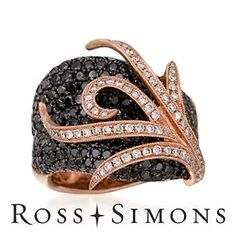 3.65 ct. t.w. Black and White Diamond Ring In Rose Gold. Size 7 black and white diamond rings