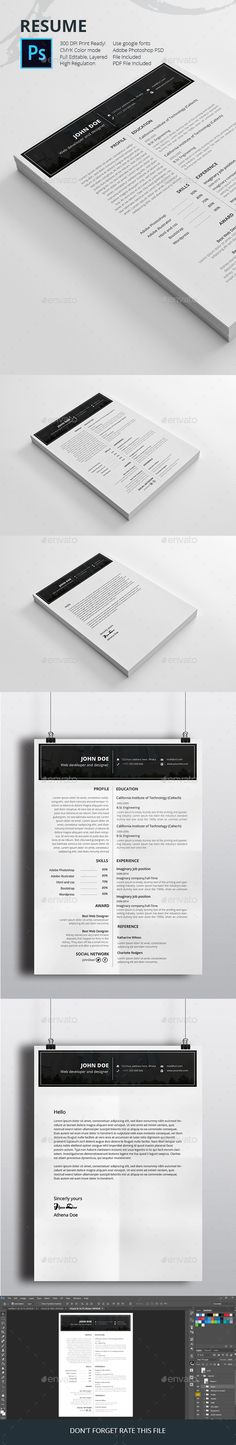 Resume Template PSD Download here http\/\/graphicrivernet\/item - psd resume templates