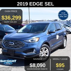 Stock#04.07 - 99062  0 DOWN, Lease FOR $95/week for 48 months @ 2.49% APR.  Some of the premium features include.  >Auto dual zone temperature control  >Power liftgate  >18' Painted aluminum wheels  >2.0L Ecoboost for performace  >Ford 360 Co-Pilot.... Ford Employee, Car Deals, Ford Edge, 2019 Ford, Car Ford, Aluminum Wheels, Ontario, Pilot
