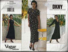 1996 DKNY Vogue Dress Pattern  Vogue American by ShellMakeYouFlip