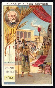 "https://flic.kr/p/9neydK | French Tradecard - Verdi's ""Aida"" | Chocolat Guerin-Boutron ""Composers & Opera's"" (series of 78 c1905) #11 Verdi 1813-1901 ""Aida"""