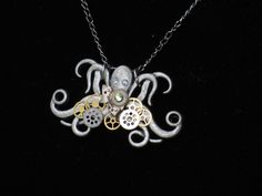 OCTOPUS NECKLACE/ Steampunk Necklace/ Steampunk/ Steampunk Octopus/ Necklace/ Pendant/ Steampunk Wedding by LadyAnnesCloset on Etsy