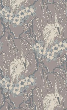 The Duke | LW57/4 - Smoke - A beautiful wallpaper for a feature wall - stunning Stork & floral design. Available in 7 colourways.