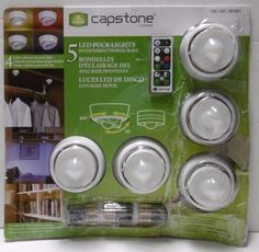 CAPSTONE 5 LED PUCK LIGHTS w/DIRECTIONAL BASE 4-LIGHT COLOR CHOICES w/REMOTE…