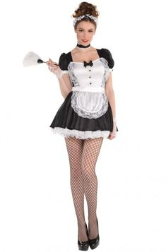 Adult Sassy Maid Costume features classic French maid dress with attached lace apron and ruffled underskirt. Sassy Maid Costume includes head band, glovelettes, and thigh high fish net stockings. French Maid Dress, French Maid Costume, Toddler Costumes, Adult Costumes, Costumes For Women, Sexy Outfits, Career Costumes, Maid Outfit, Halloween Costume Shop