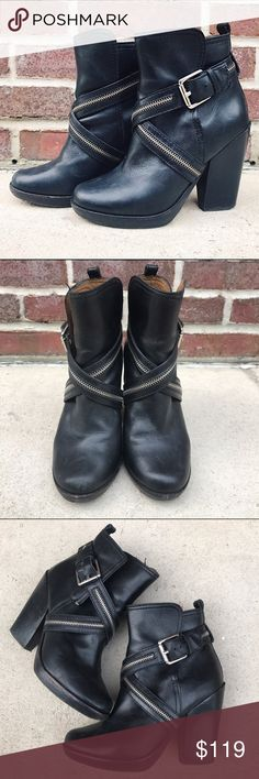 """MICHAEL KORS Zipper Booties Kors by Michael Kors Zipper Booties. -Size 6.5. (May fit a 7 as well) -Criss Cross zippers and buckle closure. -Heel height: 4"""" -Excellent condition.  NO Trades. Please make all offers through offer button. Michael Kors Shoes Ankle Boots & Booties"""