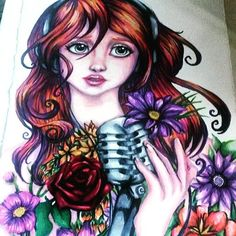 @abbey_hermiston their AMAZING singing girl surrounded by flowers anime/manga illustration done with the Chameleon Pens.