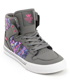 459bb18402a9 Leap into color with the stylish and durable Supra Vaider high top skate  shoes for girls