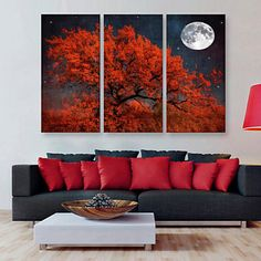 E-HOME® Stretched Canvas Art The Red Tree Decoration Painting  Set of 3 – CAD $ 125.09